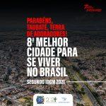 Taubaté está na 8ª posição entre as 100 melhores cidades para se viver no Brasil
